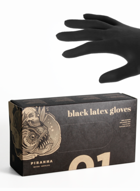 New Piranha Black Latex Gloves
